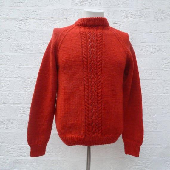 Roter Pullover Wolle Pullover Hand stricken Kleidung, Vintage rot rustikale Frauen 90er Jahre handgemachte Pullover, Winter Herren kleine Crew Hals