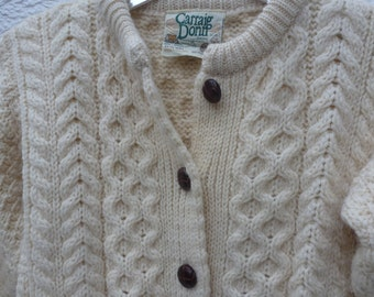 Girls cardigan cable knit clothing chunky sweater jumper vintage 1990s Irish cardigan Ireland clothes infants top childrens gift wool winter