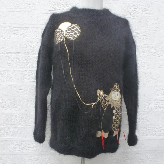 Black Vintage jumper sweater handmade British clot