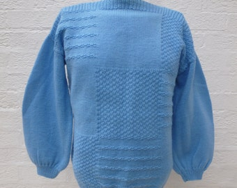 Knit jumper womens clothing 90s top ladies pullover gift handmade vintage blue clothes winter chunky indie sweater urban knit womens UK gift