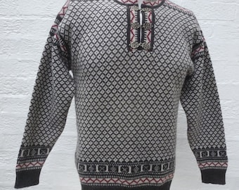 Nordic jumper icelandic sweater womens winter top wool clothing vintage jumper shetland wool top 1990s clothes grey pullover gift sweater uk