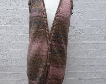 Waistcoat womens ombre clothing sleeveless long cardigan 1990s winter ecofriendly handmade waistcoat knit rustic cardigan small ladies UK12.