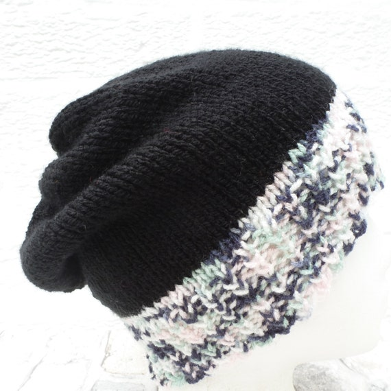 Black & white green vintage beanie, hand knit acry