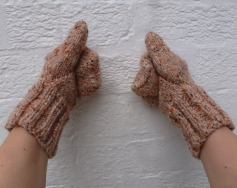 Warm gloves mens vintage 1980s mittens wool knit accessories boho handmade indie gift knit handwarmers winter gloves cosy accessory mittens.