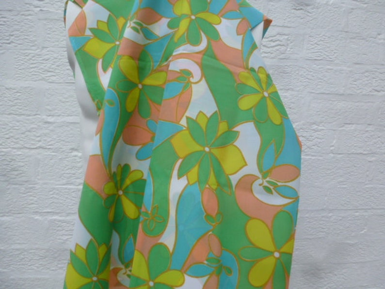 Craft supplies vintage fabric polyester cloth green floral print material home decor 70s blue yellow.