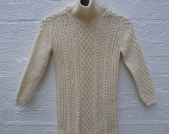 Cable sweater small teens Jumper, aran wool clothing, girls vintage winter fall gift. Traditional fisherman roll neck, chunky wool sweater.