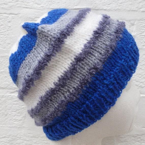 Blue grey & white striped urban beanie hat, hand m