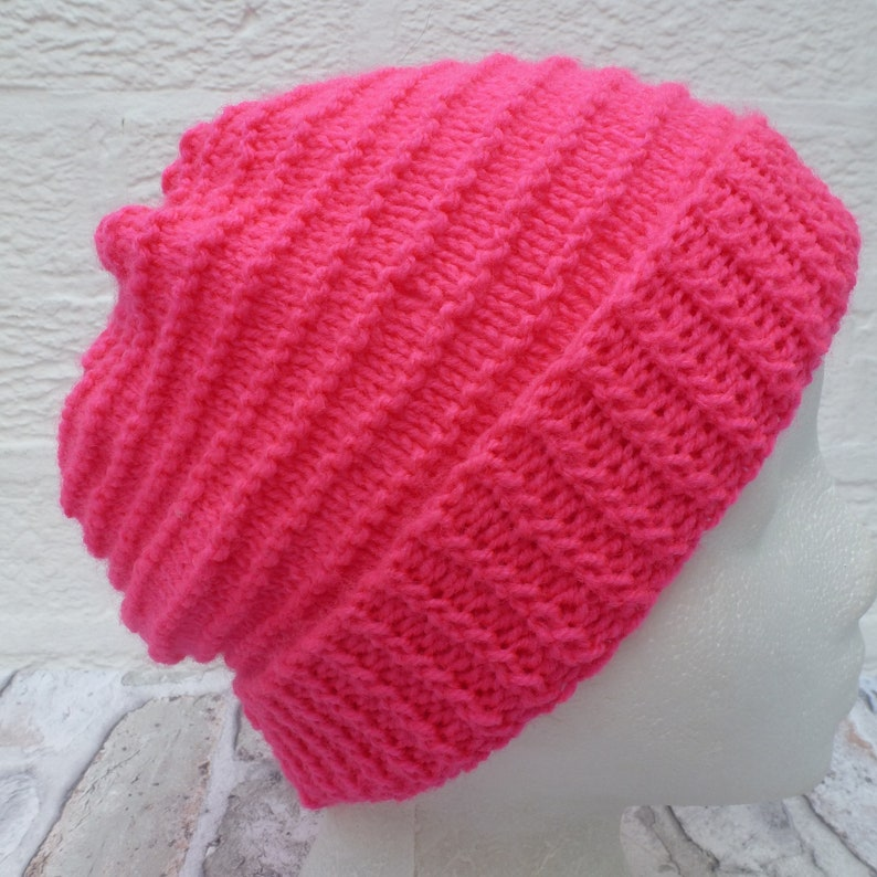 Hat knit Beanie womens handknit 80s cosy vintage pink winter accessory knit gifts for hikers ladies skull cap