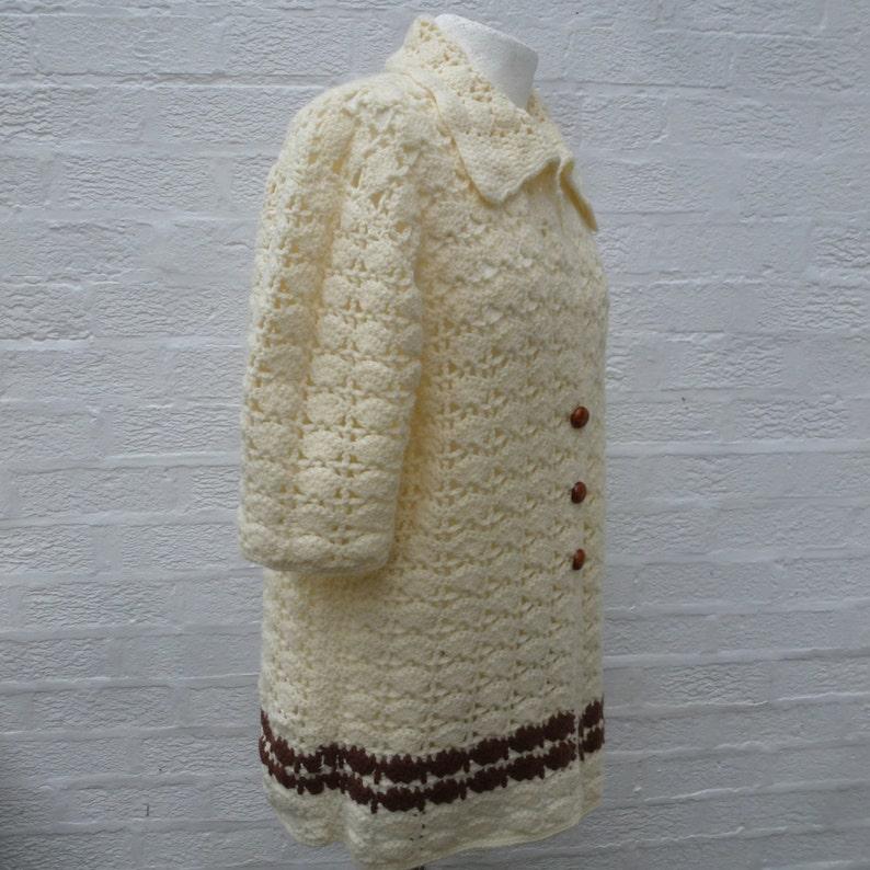Crochet vintage top womens clothing ladies handmade cardigan winter wool chunky top 80s fall festival hippie.