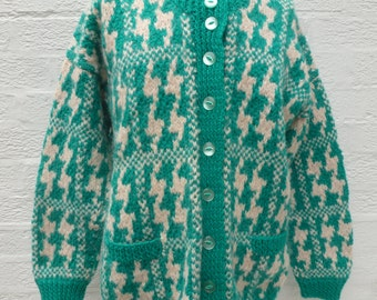 Womens cardigan green fashion handmade top winter clothing wool cosy cardigan gift vintage 80s knit clothes chunky dogstooth top ladies soft
