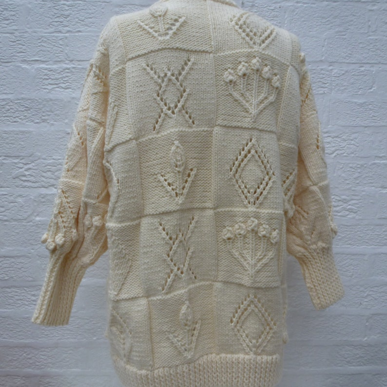 Super vintage chunky winter aran cardigan Large knitwear jacket natural wool 1990s clothing. womens knit top button up sweater handmade