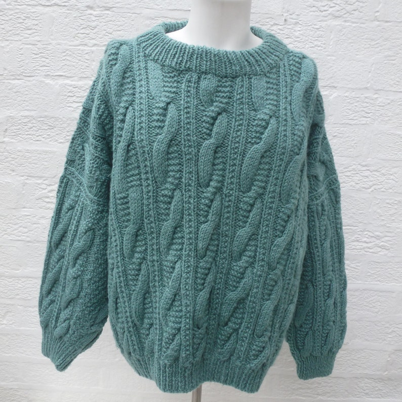 3e6ff92c767b Womens knit clothing wool jumper 1980s sweater green clothes