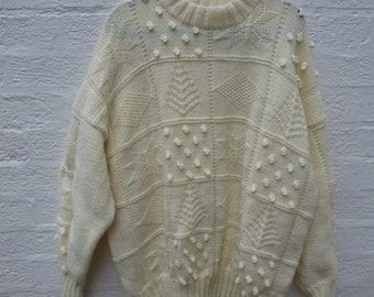 Womens gift sweater clothing 80s knit jumper patchwork sweater vintage clothing boyfriend jumper knit sweater knitted jumper large oversize.