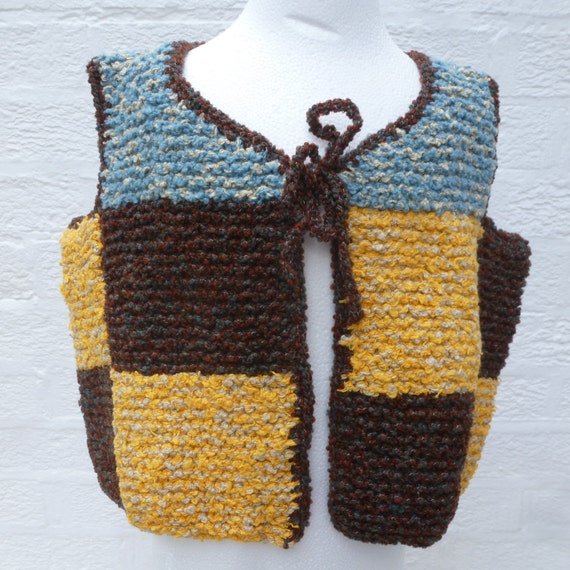 Square Patch waistcoat wool clothing, childs chunk