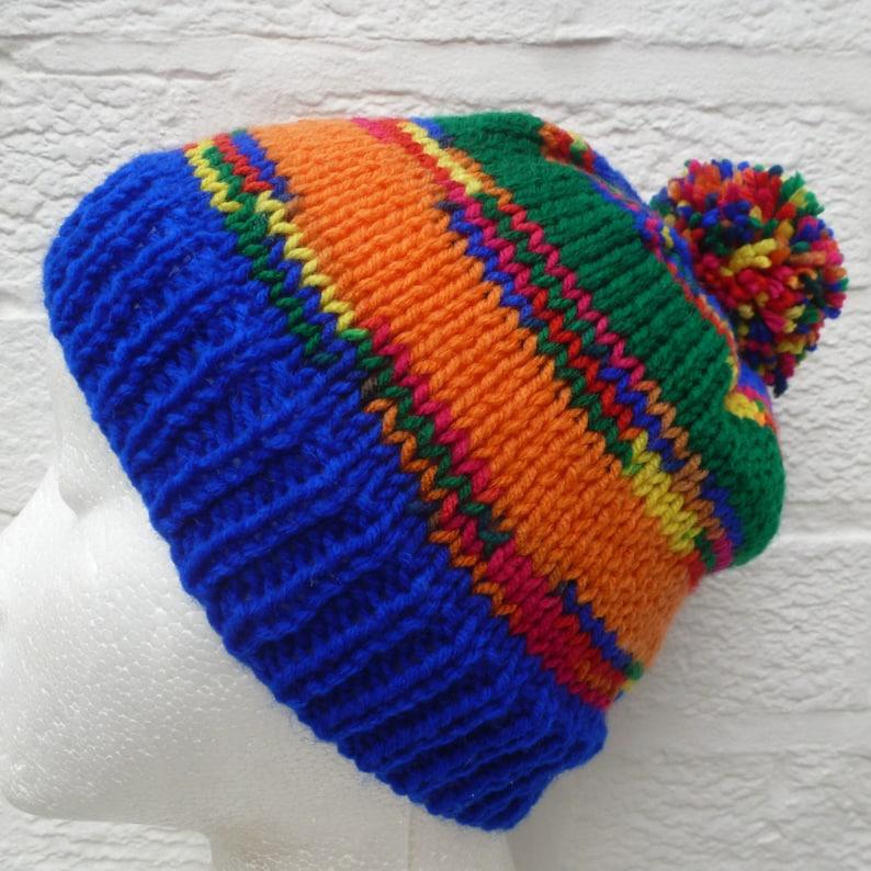 f54b14c005c Reserved. Rainbow pompom hat multicolour beanie blue orange
