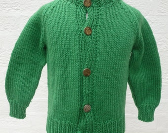 Green vintage infant toddlers cardigan, granny knit boys wool clothing, heritage handmade winter kids top, ooak traditional British clothes.