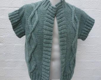 Womens green knit chunky top wool clothing handmade gift 90s ladies cardigan aran knit urban vintage indie sweater cosy fall top winter boho