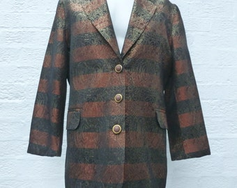 Womens jacket ladies copper brown black blazer womens 1980s clothing disco fashion sparkle glitter jacket 80s spring jacket gift blazer fall