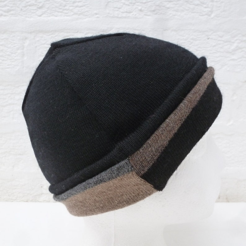 Earth friendly gift for him Small size men hat. reversible black merino mix brown wool accessory Handmade Winter hat urban hipster beanie