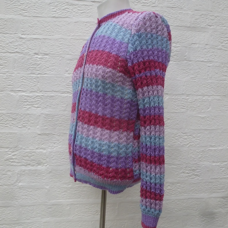 Handknit vintage cardigan ultra violet purple stripe knitwear.. womens granny chic knitted clothing 1980s small top ooak gift for her
