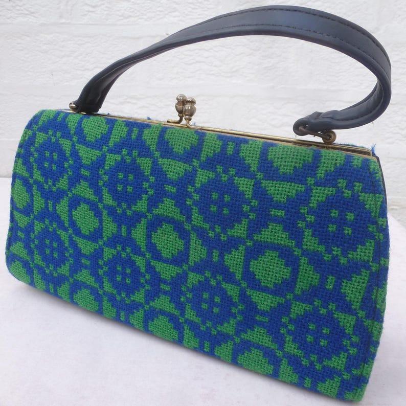6f4bd3e5728e9 Blaue und grüne Handtasche Vintage Gobelin wolle Tasche Griff
