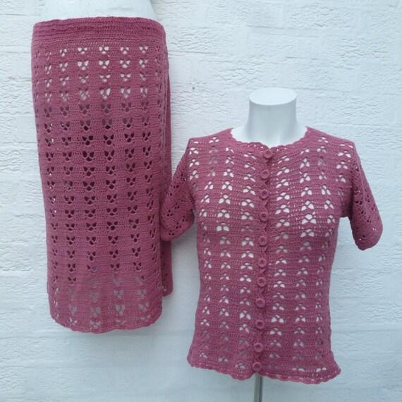 Pastel crochet suit women's festival clothing, '70
