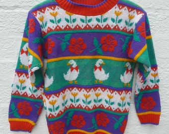 Jumper girls sweater acrylic wool fashion green clothing 1990s knit floral kids top purple gift vintage clothes girls pullover green purple.
