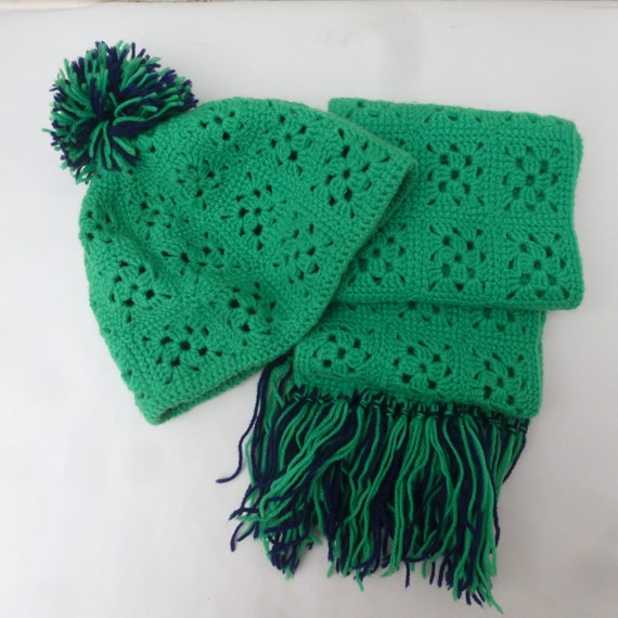 Hat ladies scarf crochet green wool granny hat and