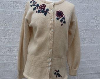 Cardigan wool knit clothing 80s Laura Ashley top womens clothing vintage cardigan retro knit clothes gift vintage sweater winter cardigan UK