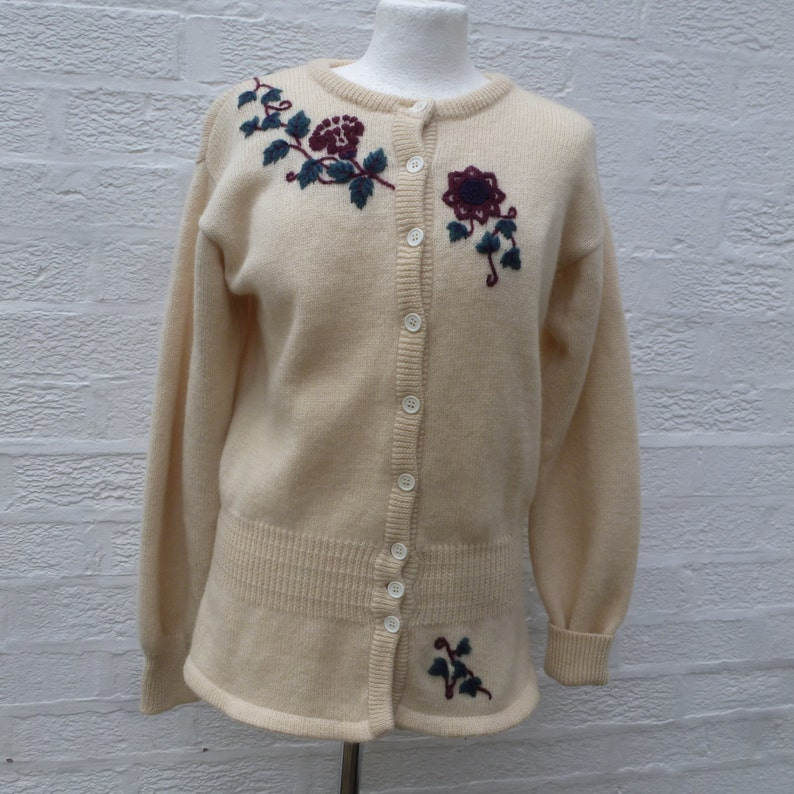 b8e6aae4c Cardigan wool knit clothing 80s Laura Ashley top womens