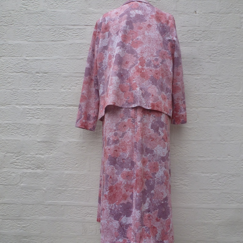 Womens vintage jacket /& dress suit Floral pastel pink lavender white polyester. /'60s clothing 2 piece outfit handmade for plus size lady