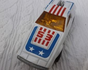 Car matchbox toy boxed 1970s, white racing car gift idea. Made in England collectible toy present for him. England gift vintage 1970s.