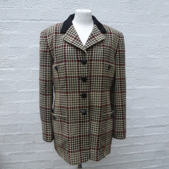 Vintage women's jacket dogtooth check wool clothin
