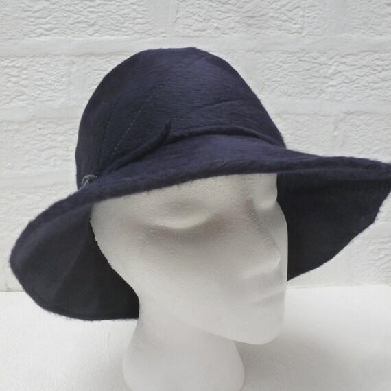367d5dbb94b Blue black hat wool womens 50s hat small head accessory ladies