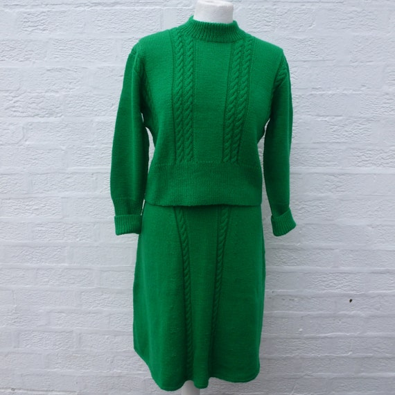 Vintage suit handmade 70s wool mini skirt & boho sweater green knit small winter wedding suit 1970s knitted kelly green clothing skirt suit.