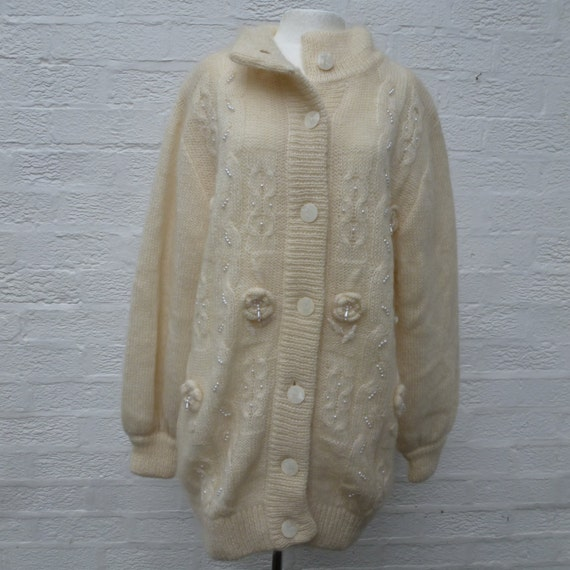 Mohair cardigan size16 jacket, wool knit women's c