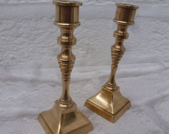 Brass candle holders 1960s vintage cottage decor farmhouse shelf home decor gift present 60s candlesticks brass England table rustic decor.