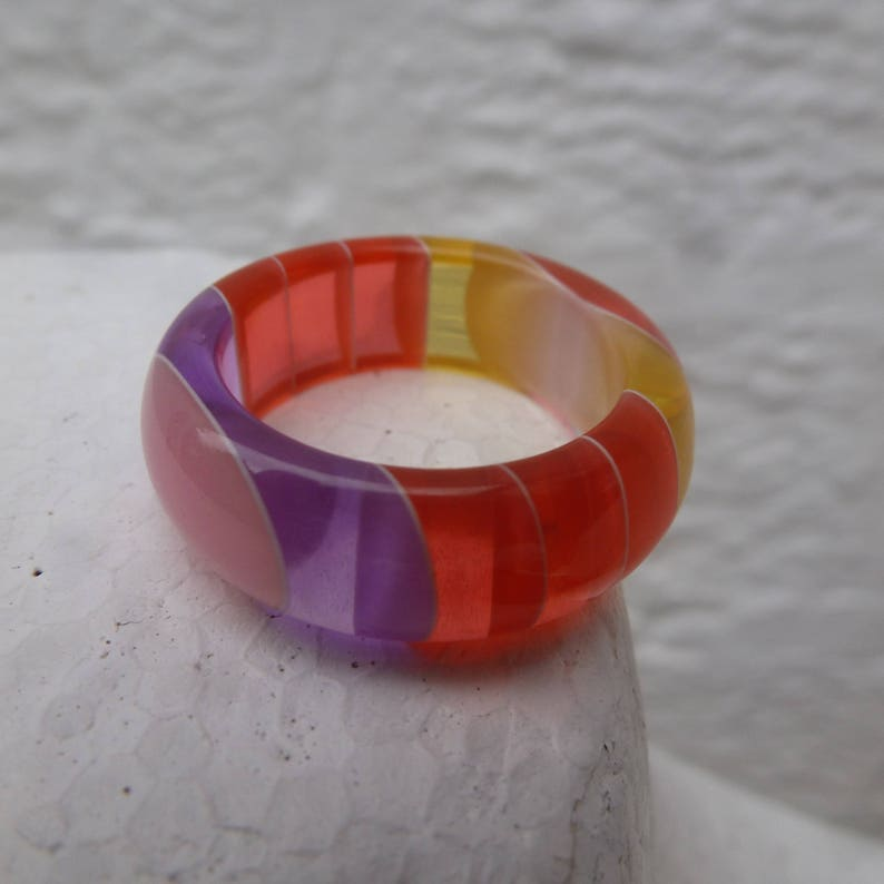 womens unworn plastic accessory size N UK. Vintage ring rainbow jewellery 1980s new old stock ring festival jewelry present