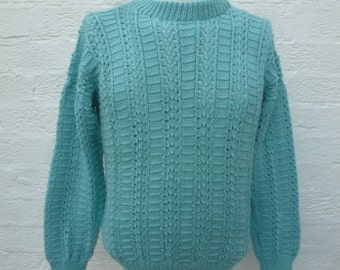 Indie sweater womens jumper ladies clothing 1980s fashion knit handmade cable top chunky winter sweater vintage jumper top wool clothes blue