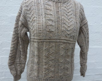 Indie sweater cable clothing teens jumper small pullover girls top chunky boys vintage handmade sweater kids boho 1990s beige wool clothing.