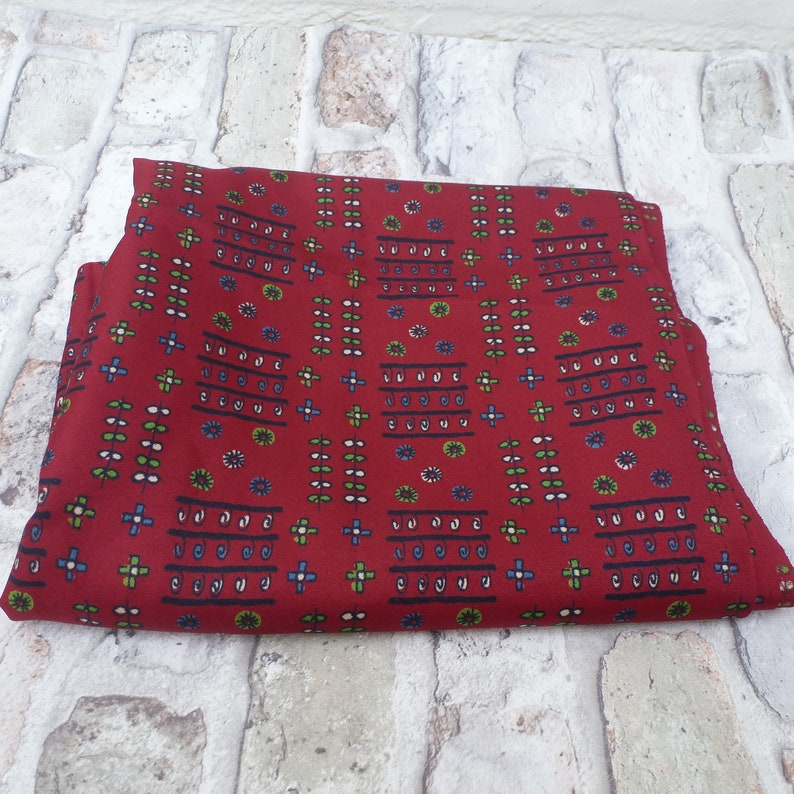 Vintage fabric red black cloth 70s material sewing hobby acetate retro rustic blue green fiber.