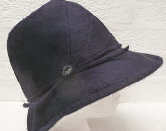 Blue black felted wool hat womens Small head accessory, 1950s Vintage bucket style formal fashion accessory, mid century ladys fedora.