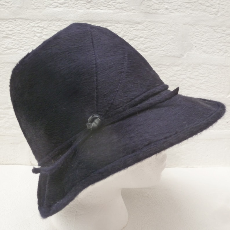 53e7c719c46f8 Blue black hat wool womens 50s hat small head accessory ladies