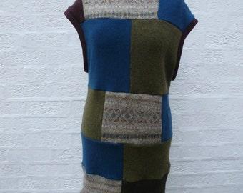 Boho Tank top patchwork clothing, long sleeveless jumper dress, women's handmade pullover long sweater tank, Eco woollen UK winter clothes.