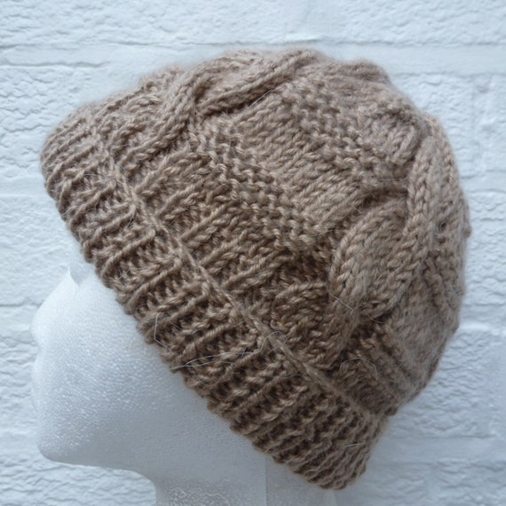 Fawn brown winter hat, Vintage cable knit beanie,
