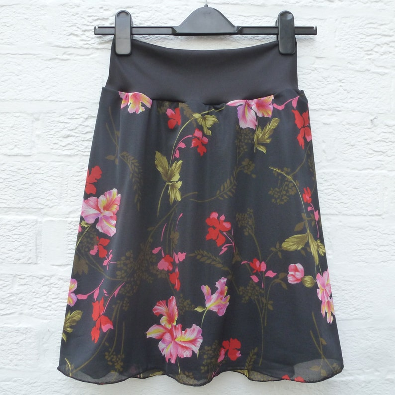 English springsummer festival skirt UK 8-10.. Summer womens fashion handmade Aline skirt Eco-friendly floaty floral clothing