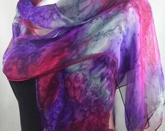 Silk scarf long hand painted chiffon fuchsia pink pearl grey orchid purple