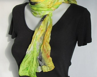 Silk scarf long crinkle hand painted - yellow green and black tie dye flowers