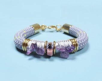 Rose gold plated macrame cuff bracelet with fluorite and howlite stones ethnic boho chic style  UMA