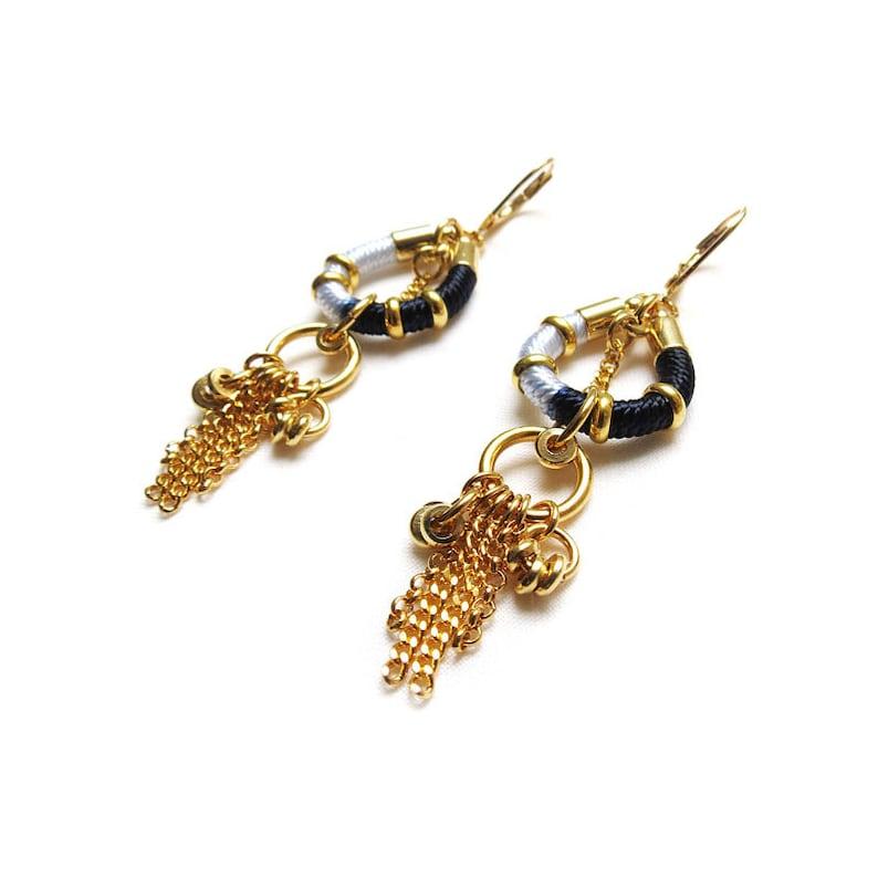 chandelier earrings boho chic earrings AKILA gold earrings black white and gold ethnic earrings,modern rope earrings hippie earrings